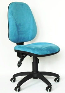 ERGON BI - Office chair that provides comfort for several hours while sitting on it. It also provides the possibility of optional settings for each individual. Description of the chair: ergonomic backrest with embossed lateral lumbar supports, anatomic seat made of plywood with embossed lateral supports, asy mechanism: three levers for a separate tilt adjustment of the seat and backrest with a stop in any location, manual height adjustment of the seat, height adjustable seat with gas lift, neat PVC base with wheels. Dimensions: height 100 cm, width 48 cm, depth 46 cm. Weight: 13 kg