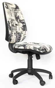KUBO – A wider office chair with stronger construction, that provides comfort even when sitting for several hours. It also provides the possibility of optional settings for each individual. Description of the chair: anatomic seat made of plywood for comfortable seating, ergonomic backrest with embossed lumbar support, synchron mechanism for the active backrest and seat with possibility of fixing them in five positions, thrust setting the seat back in relation to the weight of the user, height adjustable backrest to five positions up and down, height adjustable seat with gas lift, neat PVC base with wheels. Dimensions: height 103 cm, width 52 cm, depth: 46 cm. Weight: 18 kg
